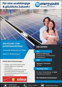 Expertenvortrag Solarstrom Photovoltaik